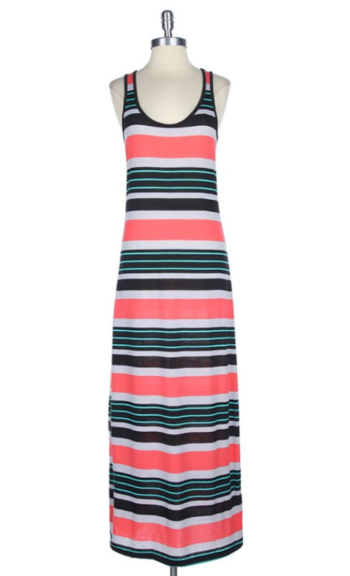 Coral Multi Striped Maxi Dress