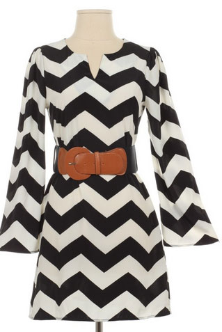 Flared Sleeve Chevron Dress