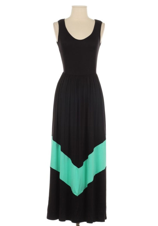 Mint Color Block Maxi Dress