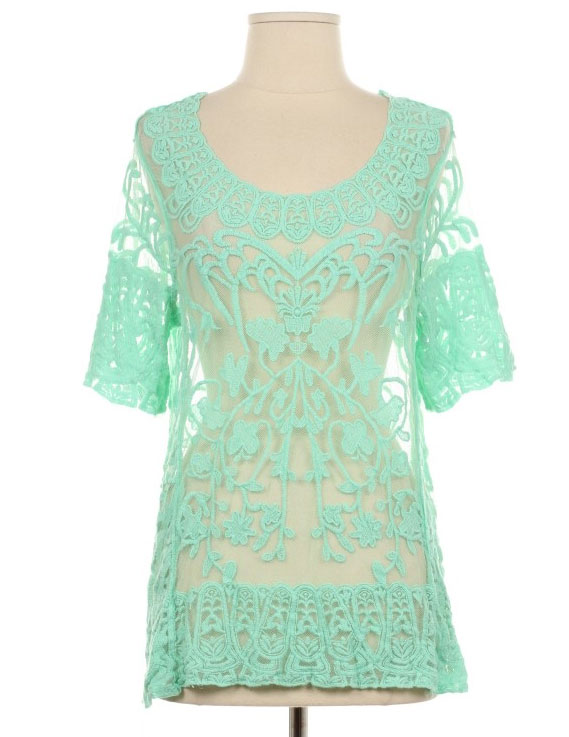 Mint Crochet Lace Top