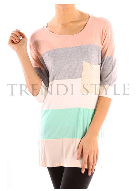 Color Block Tunic Top