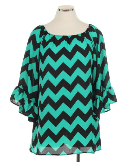 Plus Size Jade Chevron Top